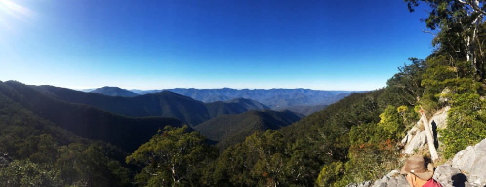 Panoramic view of the upper Deua valley looking east from the Minuma Range.