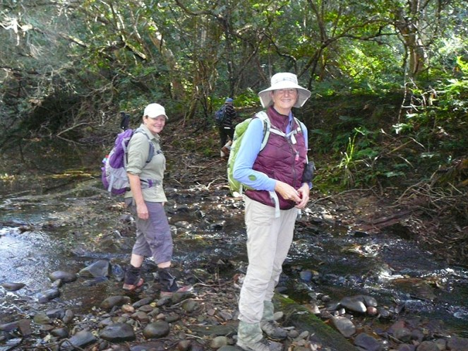Karen and Donna find a good place to cross the creek.