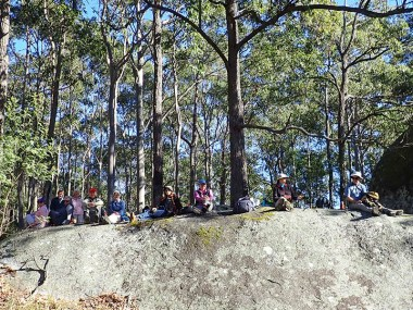 Morning tea next to 'The Rock'.