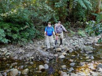 Bruce and Bob cross Carters Creek.
