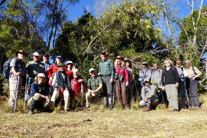 Combined group of walkers before dividing into two groups at the top of Durras Mountain.