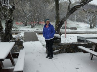 Camp Leader Donna braving the snow.