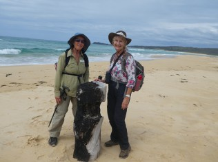 Bev and Carol and some natural flotsam on the beach.