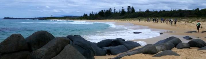 Panorama of rocks, beach and sea.