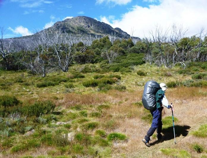 Mary drifts past Mt Jagungal.