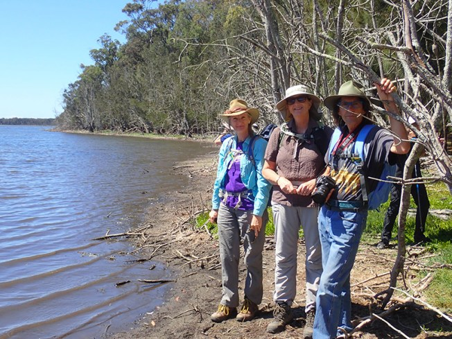 Erika, leader Karen and Philip by Lake Tarourga.