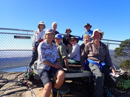 At Mt Rosea. Lin, Donna , Betty, Karen, Jennie, Mary, Donna (camp leader), Jill and Ian.