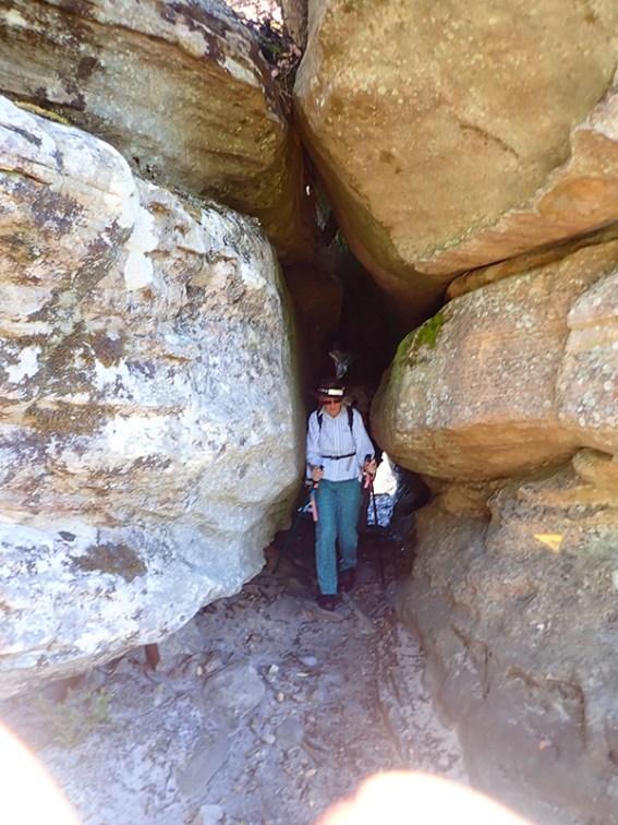 Betty forging a way through the rocks.
