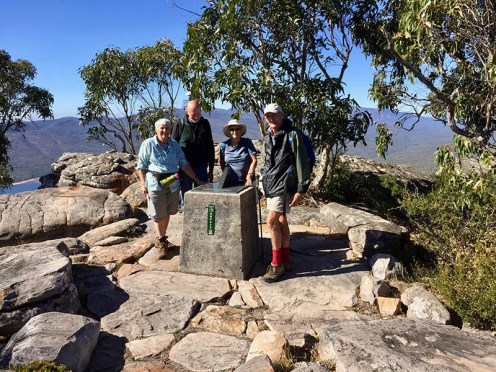 Bev, Stewart, Ainslie and Mike at the Sundial Lookout.