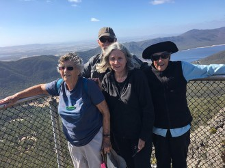 Ainslie, Ed, Karen and Bev hold on tightly at the Pinnacle Lookout.
