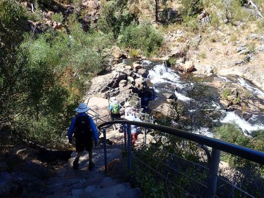 Descending the 260+ steps.