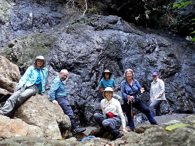 Erika, David, Philip, Pat, Donna and Mary at the waterfall.