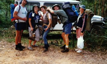 1990 After another packwalk to Monolith Valley - John Garner, Jean Kenway, Valerie Harris, Lloyd Donnelly and Betty Richards
