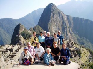 2005 with a group of bushwalkers at Macchu Picchu, Peru