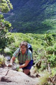 Ainslie climbing Mt Gower