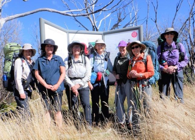 Helen, Rachael, Gay, Mary, Donna, Glenn and Karen at the Round Mountain carpark