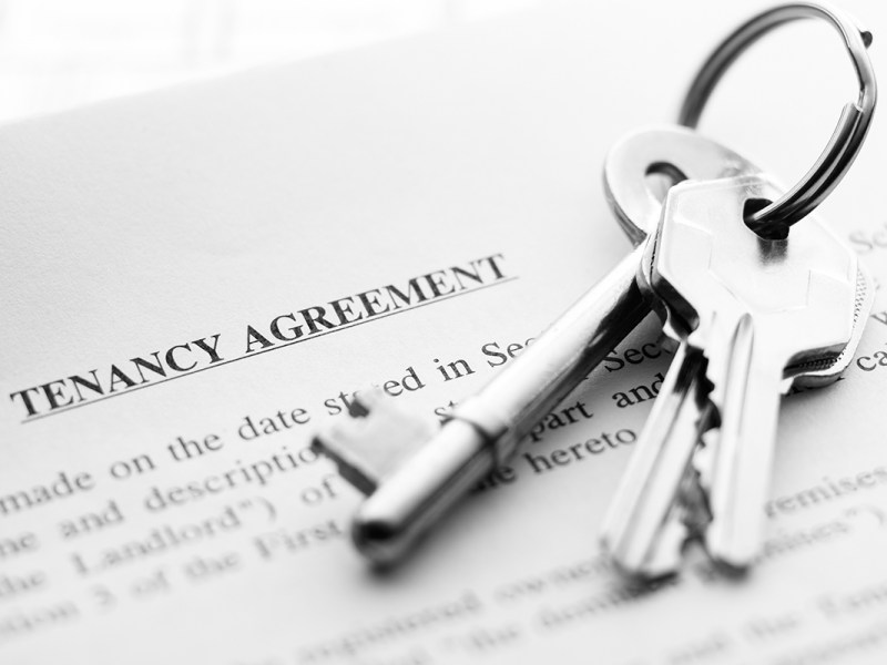 set of new keys on a tenancy agreement