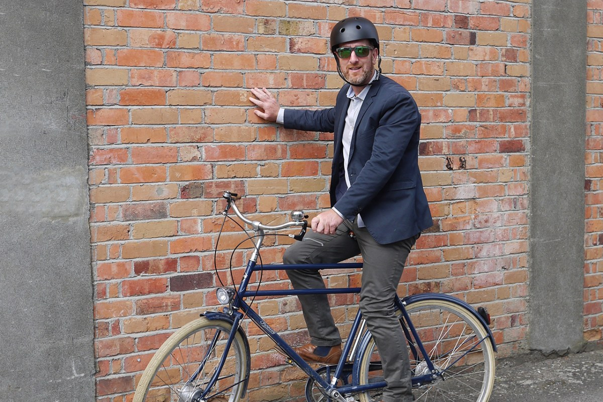 Dominic Salmon loves cycling to work at least four times a week. Photo: Giselle Reid