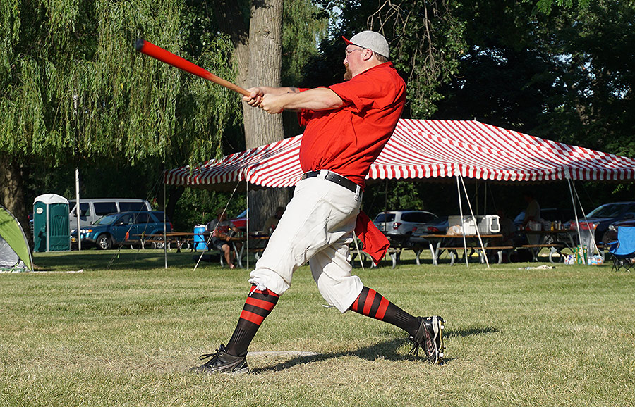 Buttons blasts a ball during action at Ojibway Island - June 25, 2016.