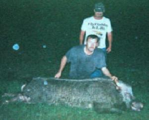 Greg and Jim with a BIG Hog!