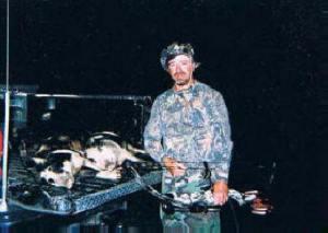 Bombing range -- Jim with 3 hog