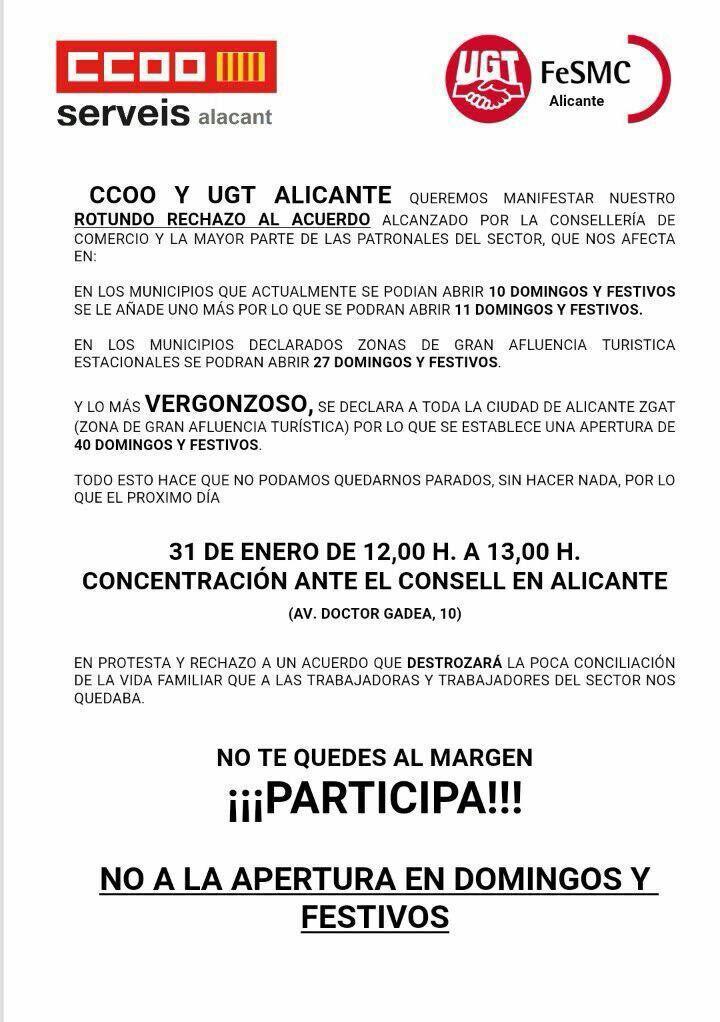 CCOO y UGT Alicante contra la apertura de domingos y festivos