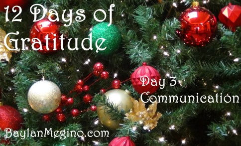 12 Days of Gratitude 2017 Day 3 Communication by Baylan Megino