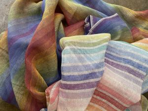 Rainbow striped linen gauze