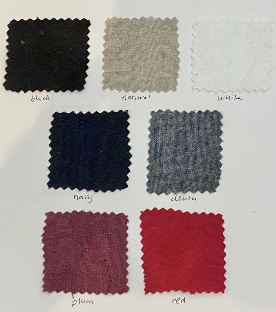 Custom linen colours available for yarrow linen tunic: black, natural, white, navy, denim, plum and red linen