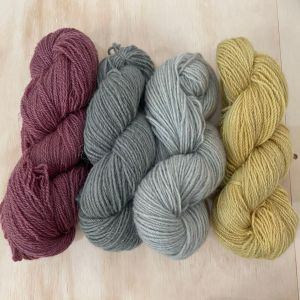 4 skeins of 8 ply corriedale/mohair blend yarn naturally dyed with elderberry, mint and fennel