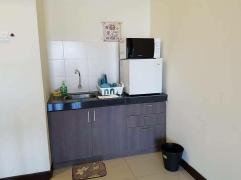 Small kitchen area with microwave and chiller
