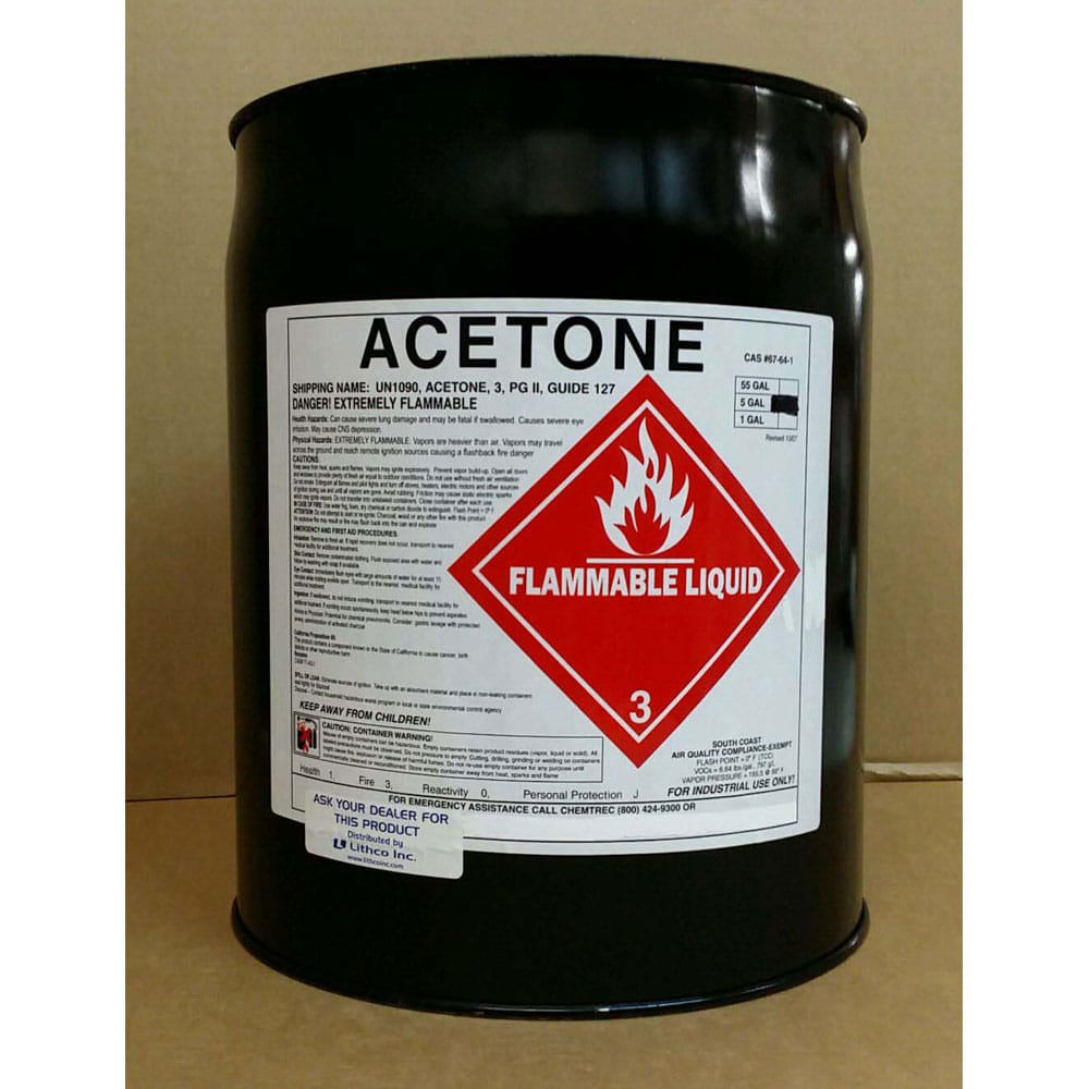 Acetone 5 gal - Bay Press Services