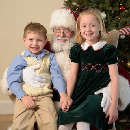 Santa with a young boy and girl 2016.
