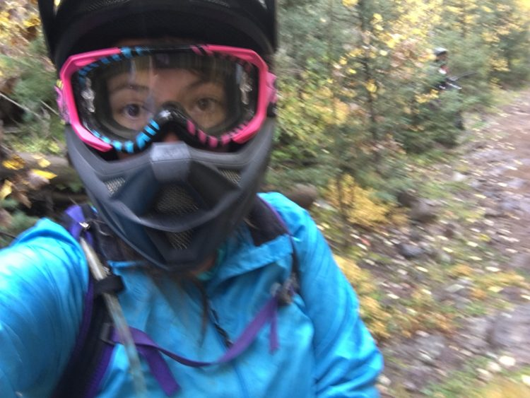 Selfie of Laurel downhill mountain biking