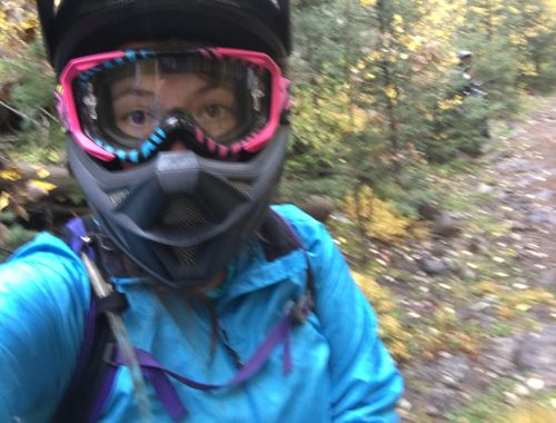 Selfie of Laurel downhill mountain biking