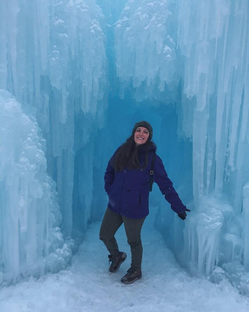 Standing inside Ice Castles