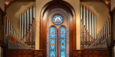 Organ pipes and front window