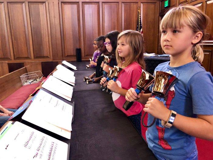 Children's bell choir at Bay Shore Church