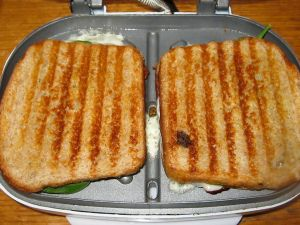 Sandwiches after grilling in panini maker