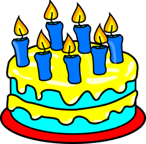 clip-art cake with 7 candles
