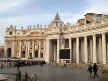 In the open arena area of the Vatican before most of the crowd has arrived