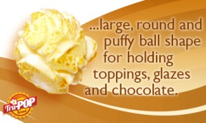 picture of popped mushroom popcorn kernel with text saying large, round, puffy ball for holding toppings, glazes, and chocolate