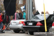 Prepping Jessica Chastain in the Audi