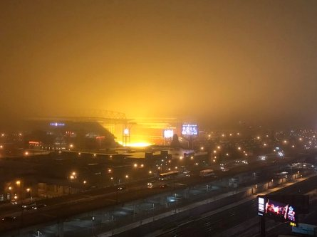 That yellow glow in sky is grass grow-lights at BMO field
