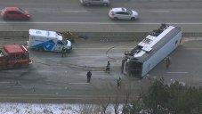 "Bus hit ""jersey barrier"""