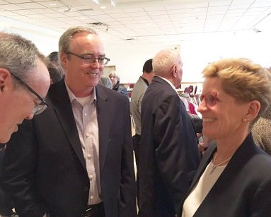 Premier chats with Terry Fallis and brother Tim (left)