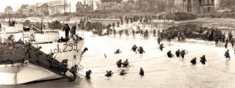 Canadians wade ashore at Juno Beach