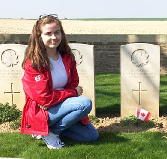 Victoria Whalen at Nine Elms Military Cemetery in Thelus.