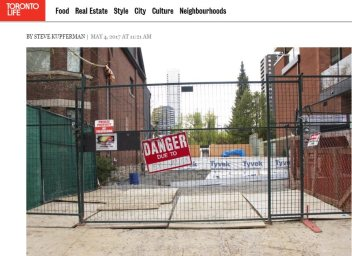 Toronto Life article on lot and plans for sale
