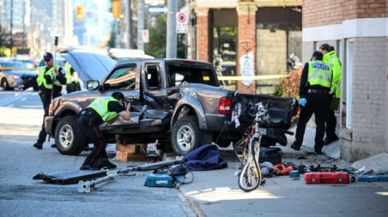 Truck struck broadside